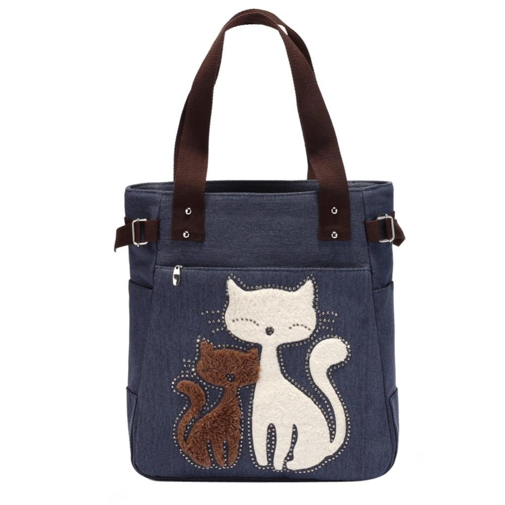 Lovely Cute Cat Canvas Handbag For Girls Ladies Large Capacity Casual Bag Women Portable Solid Zipper Shoulder Bag Bolsos Mujer J190709