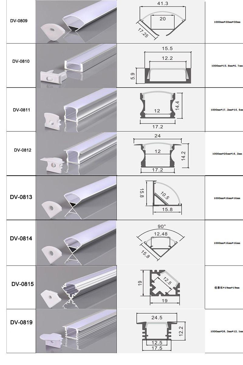와이드 LED 스트립 라이트 바에서 내각 램프 주방 1.8cm에 대한 CLAITE 50cm U V YW 트라이 스타일 알루미늄 채널 홀더