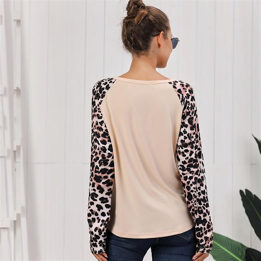 Gedruckte Schulter gestreift Leoparddruck Tarnung lang 2019 Printed Schulter T-Shirt gestreift Hülsenoberleoparddruck Tarnung lange T-Shir