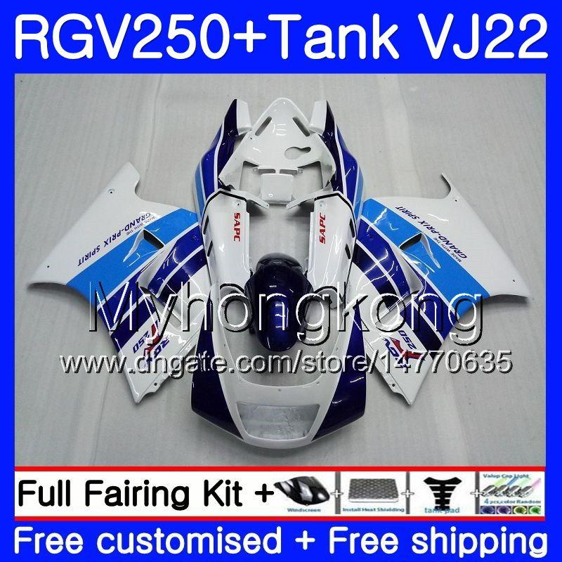 Cuerpo + tanque para SUZUKI fábrica azul caliente VJ21 RGV250 88 89 90 91 92 93 307HM.15 RGV-250 VJ22 RGV 250 1988 1989 1990 1991 1992 1993 Kit de carenado