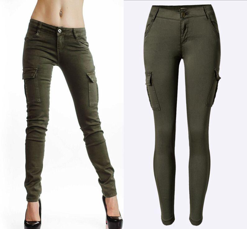 Compre Estilo Militar Mujer De Los Pantalones Vaqueros Verdes Mediados De Cintura De Las Mujeres Del Estiramiento Del Lapiz De Los Pantalones Vaqueros De Moda Doble Bolsillos Laterales Pantalones Vaqueros Del Ejercito