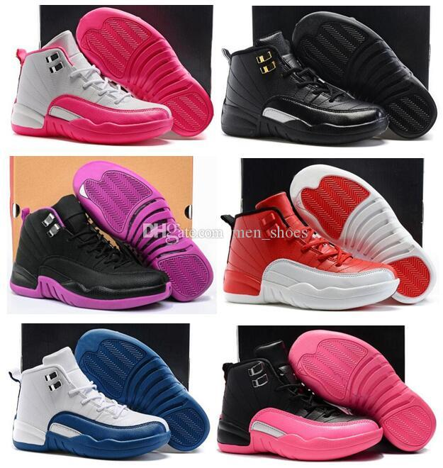 Boys Girls 12 12s Gym Red Hyper Violet Purple Kids Basketball Shoes Childrens Pink White Blue Dark Grey Toddlers Birthday Gift With Box