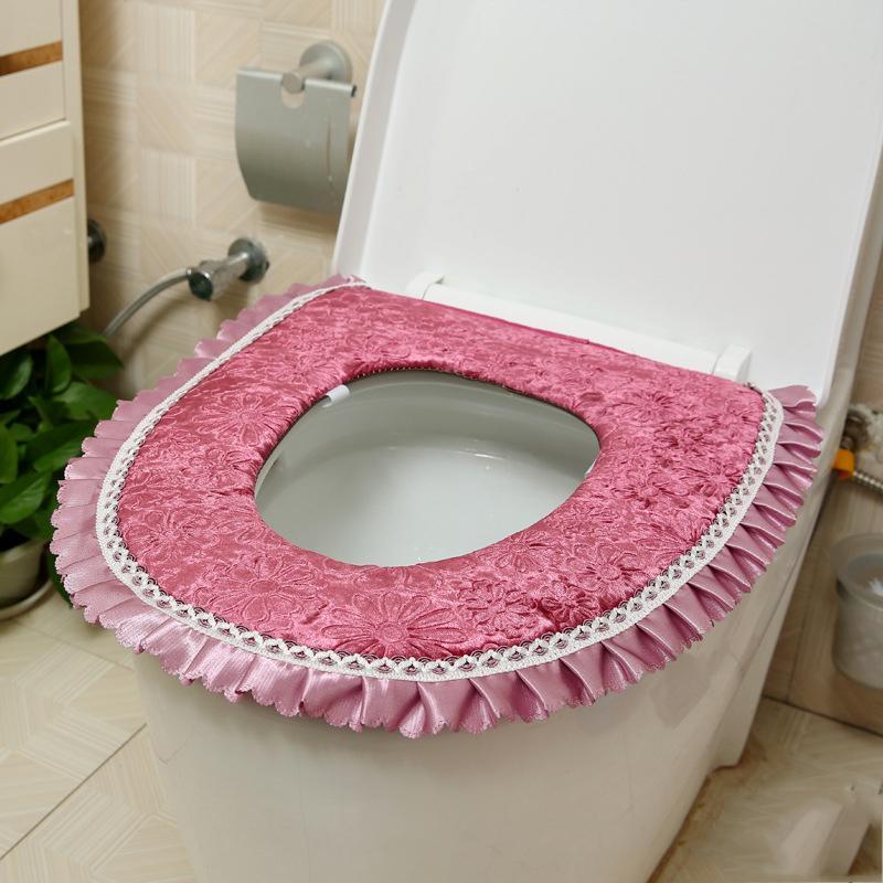 Rahat Tuvalet Kalın Isıtıcı Yumuşak Su Geçirmez Klozet Minder Kapak Banyo Kaide Pan Pedleri O-şekilli Gömme Klozet Pedleri DH321