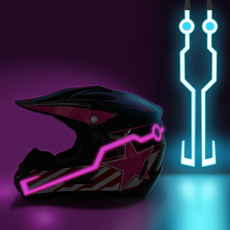 Hot Motorcycle Helmet Lights Durevole Lampeggio Helmet Helmers Adesivi notturni Motocross Riding Kit casco Kit impermeabile Barra LED Light Strip