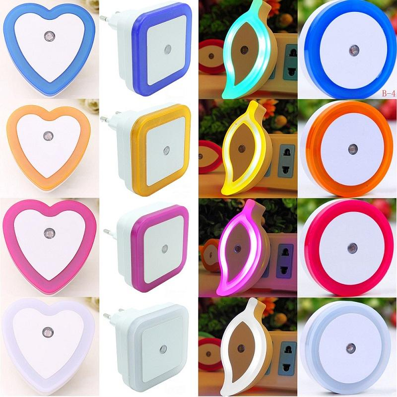 Plug In Sensor Light EU/US Plug Sensor Night Light Luminaire Lamp Led Nightlight Children Bedroom Baby Round Square 110V 220V