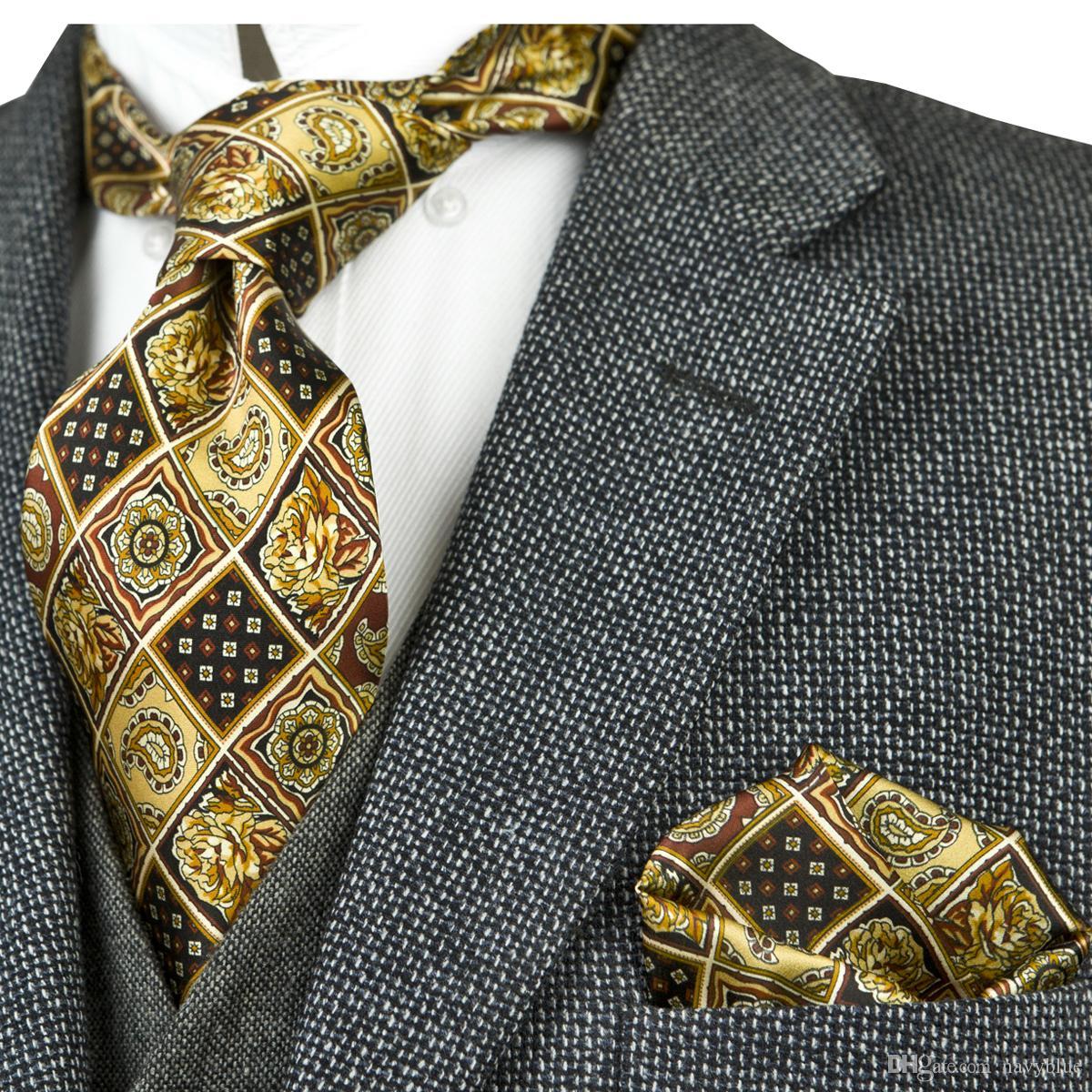 Stampato Vintage Ties Motivo floreale multicolore 100% Imposta seta Mens Cravatte stampa Tie 10cm di modo brandnew casuale convenzionale festa di nozze