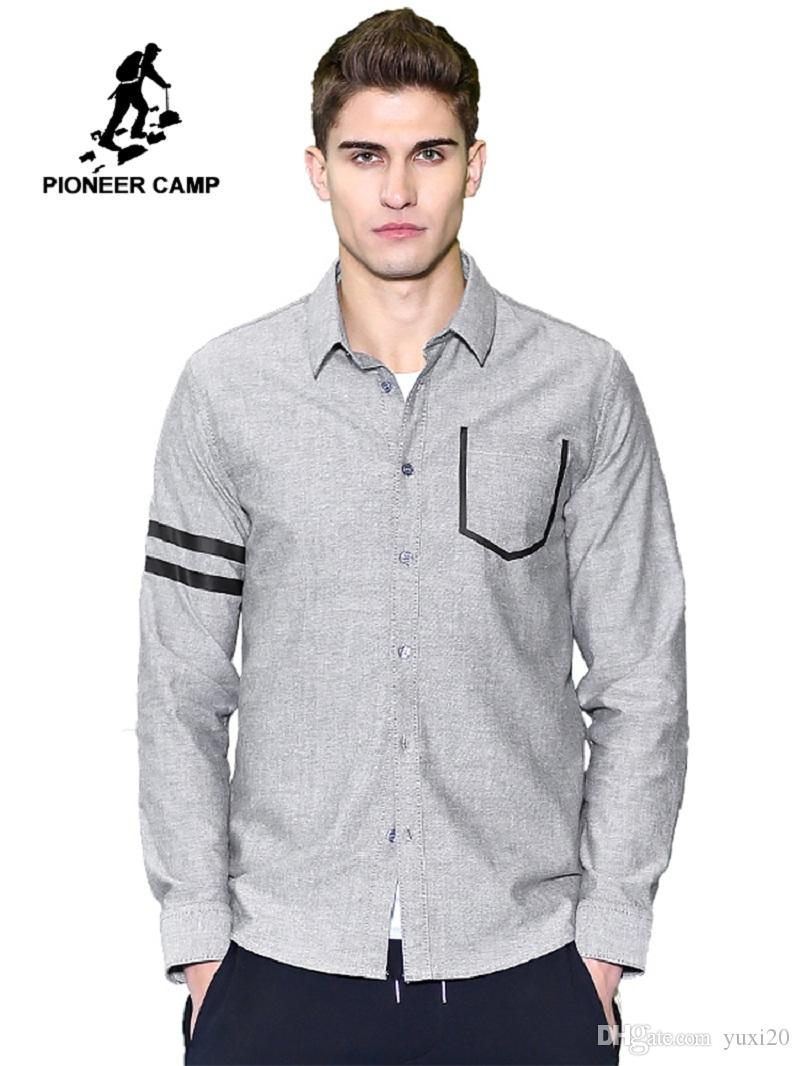 New Casual Shirt Men Brand Clothing Fashion Long Sleeve Social Shirt Male Quality 100% Cotton Grey Blue ACC701044