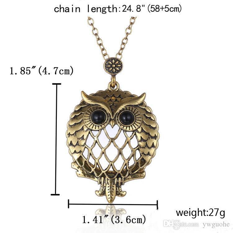 New design Fashion unisex necklaces Retro Hollow Owl Pendant Necklaces Trendy Glass Magnifier necklaces free shipping