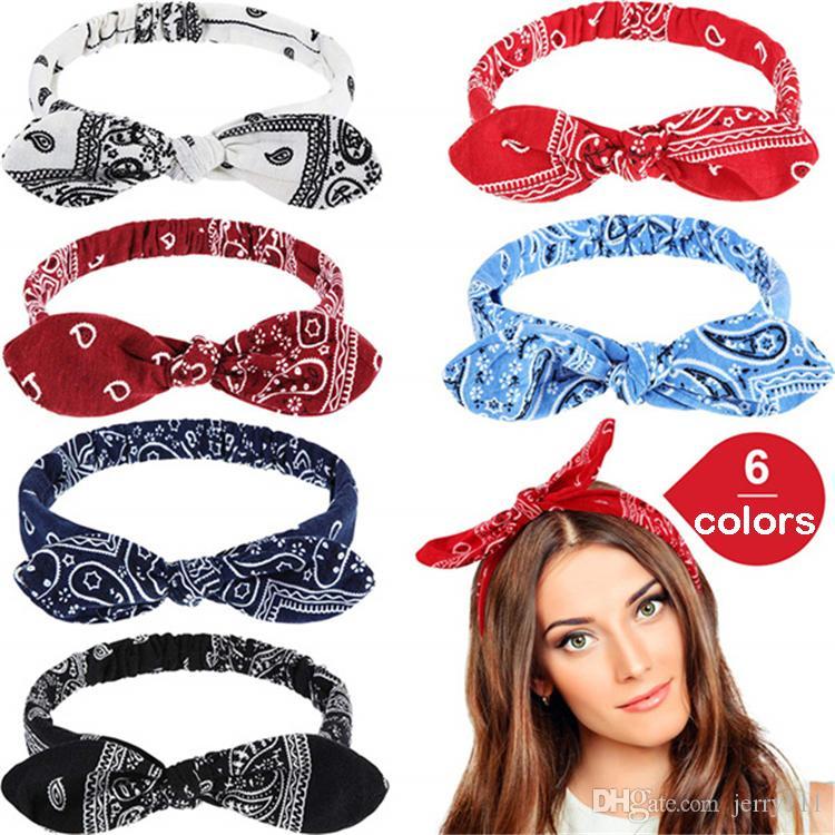 6 Color Women hairband Rabbit Ears Knot Elastic Hair Band headband Bandanas Girl Fashion hair accessories JJ170