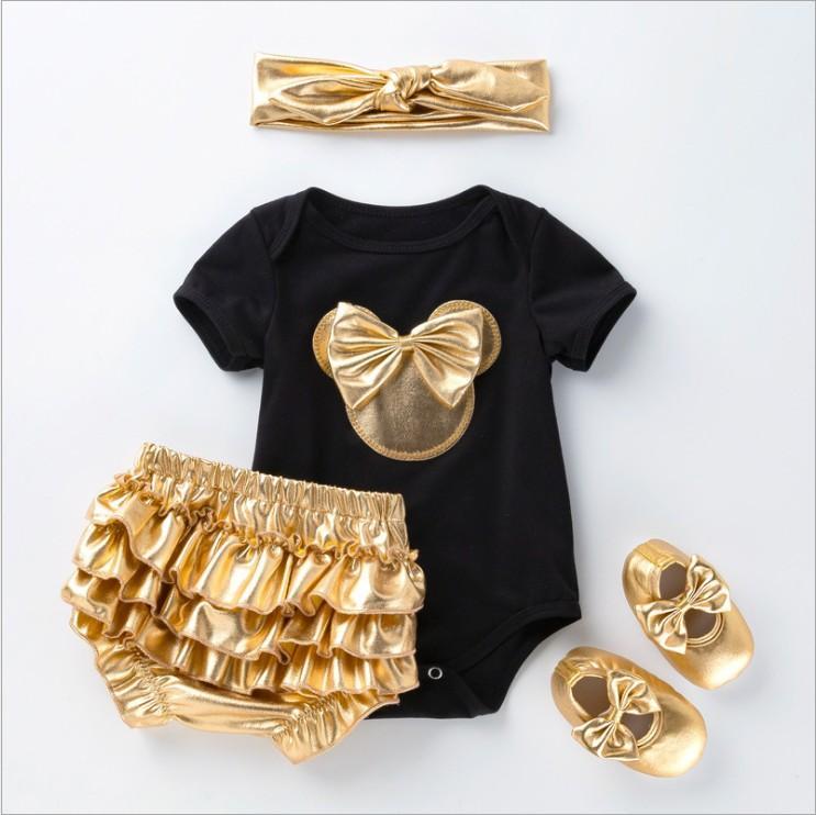 4pcs Set pour bébé d'or Vêtements Ensembles Barboteuses + PP + Shorts + Bandeau Chaussures 2020 Nouveautés Nouveau-né Costume Vêtements pour bébé Tenues tout-petits