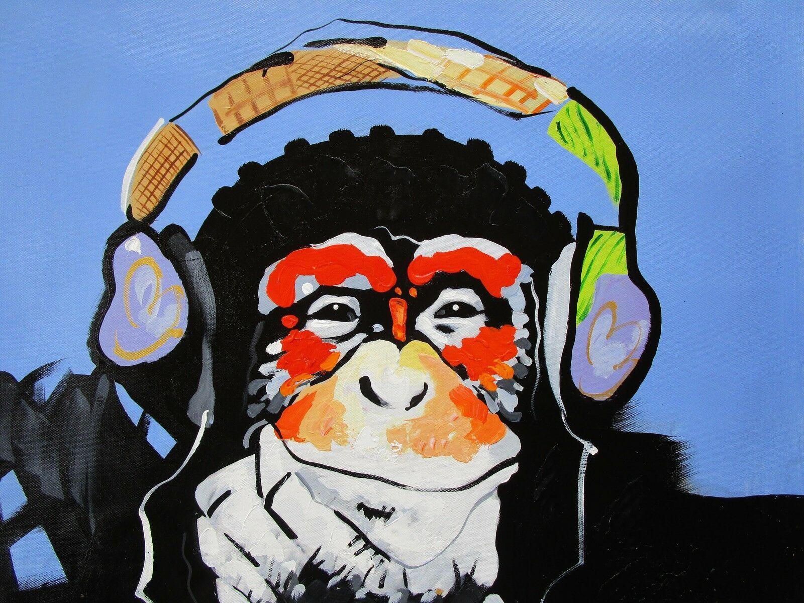 Framed Art Painting Canvas Banksy original Street Print DJ Monkey chimp