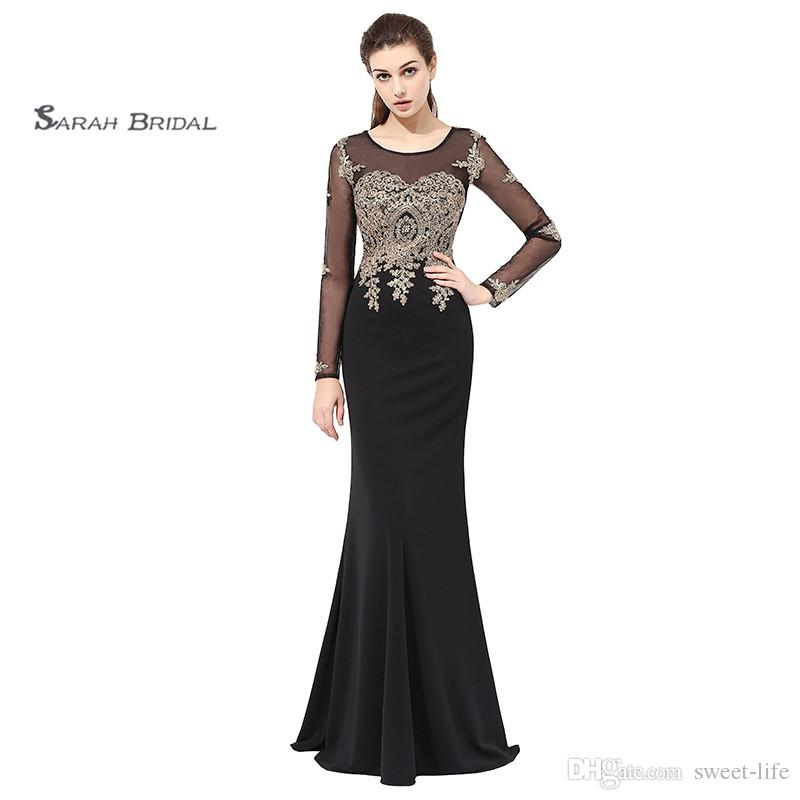 2019 Sexy Mermaid Black Appliques Beads Prom Dresses Jewel Tulle Satin Zipper Formal Evening Gown LX357