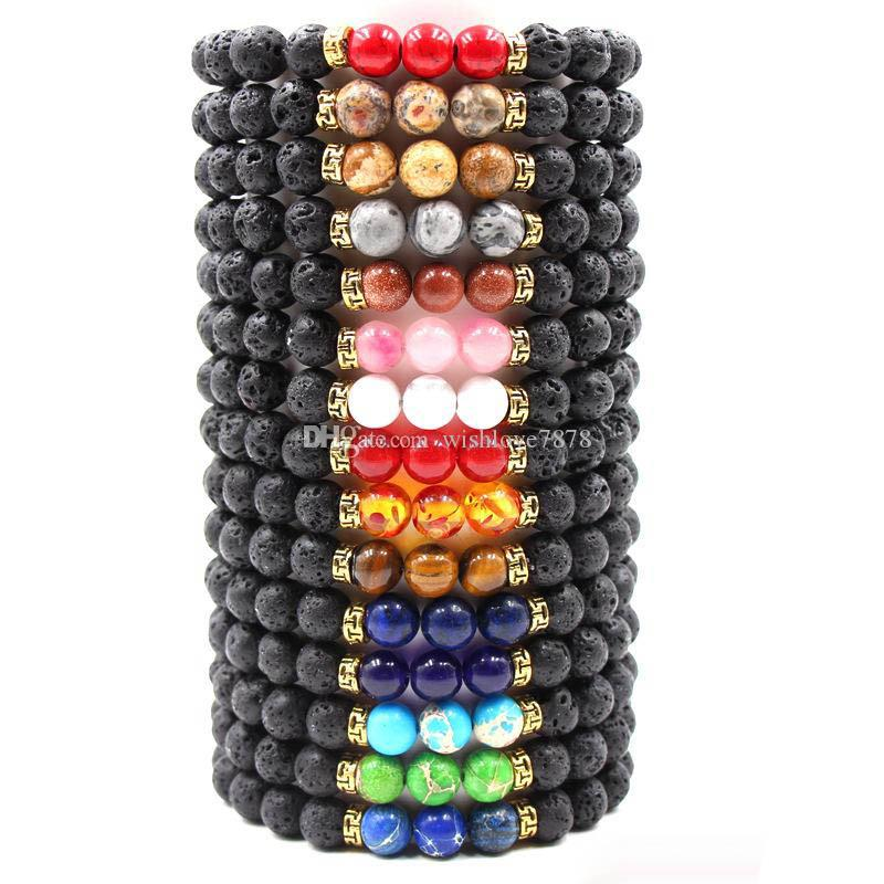 18 Style Lava Stone Beaded Essential Oil Diffuser Bracelet Bangle Beads Tiger Stone Stretch Energy Yoga Jewelry Bracelets