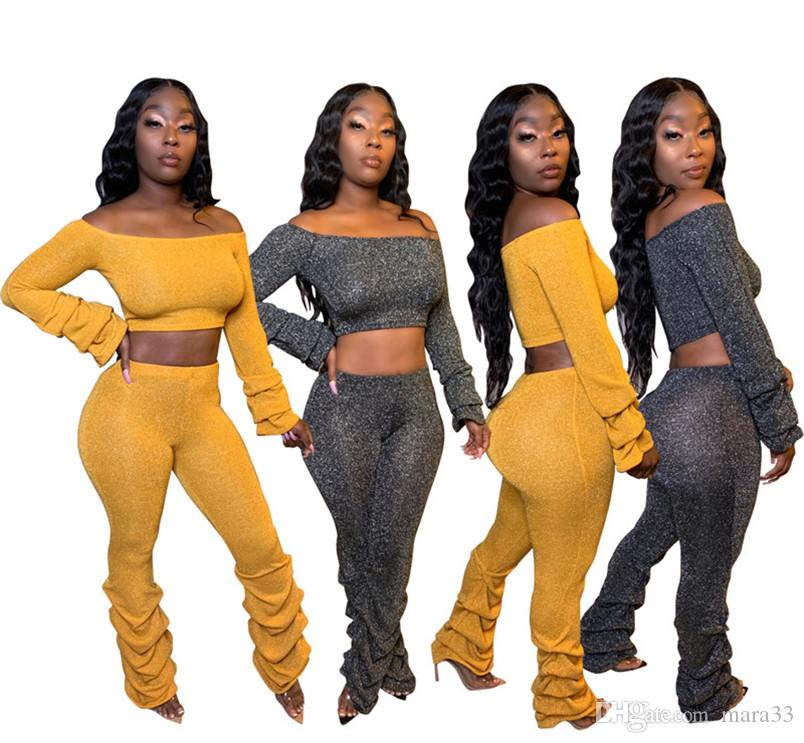 Women solid color 2 piece set fall winter clothes lantern sleeve crop top hoodies pants sportswear leggings outfits outerwear bodysuits 2350