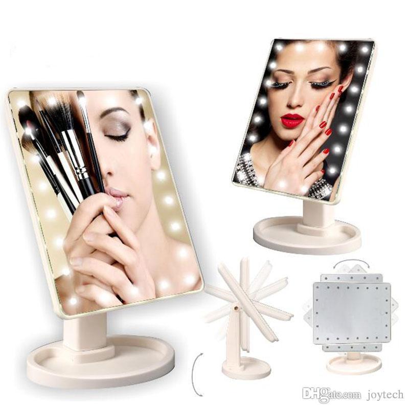 الشاشات التي تعمل باللمس الصمام ماكياج مرآة مرآة التجميل مع 16 22 LED أضواء طوي الجمال قابل للتعديل كونترتوب الدوران 360