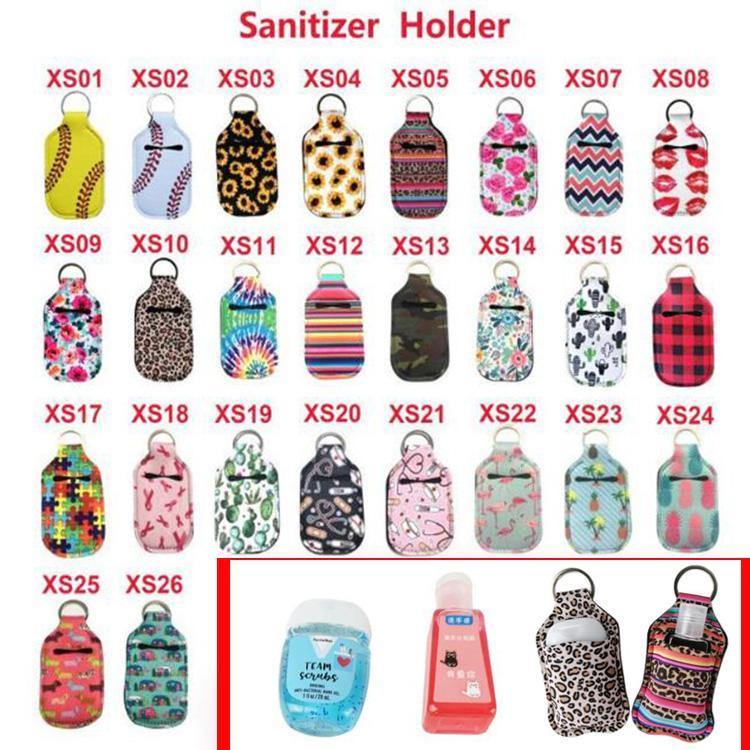 2020 Bolsas caliente soporte para botella de desinfectante de la mano de neopreno y estaran en 30ML 10.3 * 6cm clave Anillos mano Soporte de jabón de color en 26 disponible