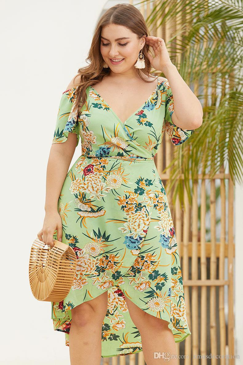 2019 Women Dress 2019 Summer Plus Size Dresses Wrap V Neck Floral Print  Empire Waist Asymmetrical High Low Bohemian Party Maxi Dress From ...