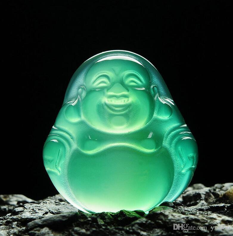 Belas Natural Ice Verde Chalcedony Pendant Buda de mulheres que riem Colar Pendant Buda de Jade Maitreya