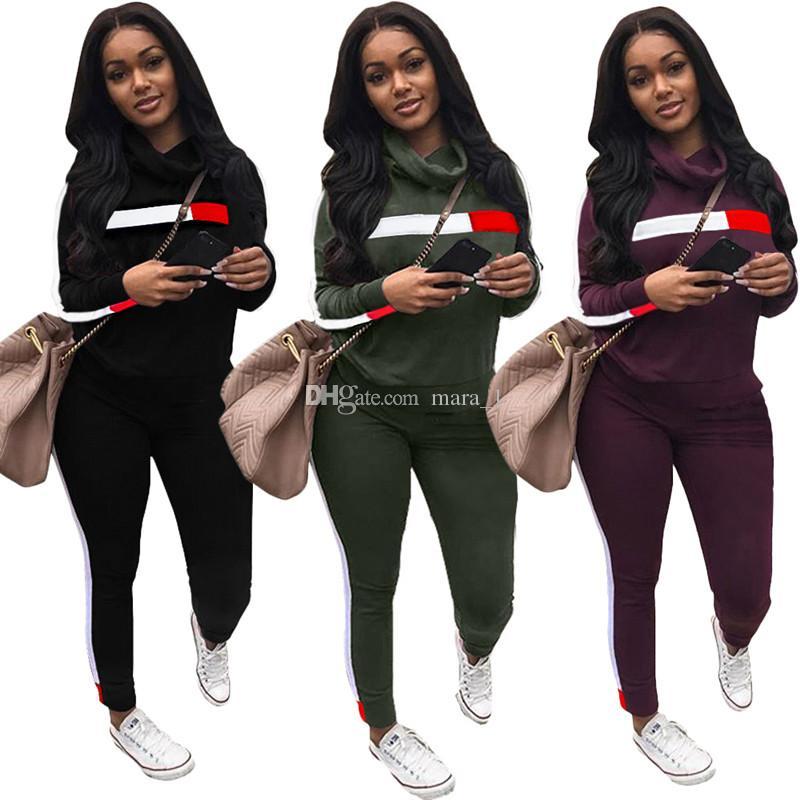 women Turtle Neck hoodie set outfits designer striped sweatshirt leggings sports suit sweat pants two piece tracksuit winter sportswear 333