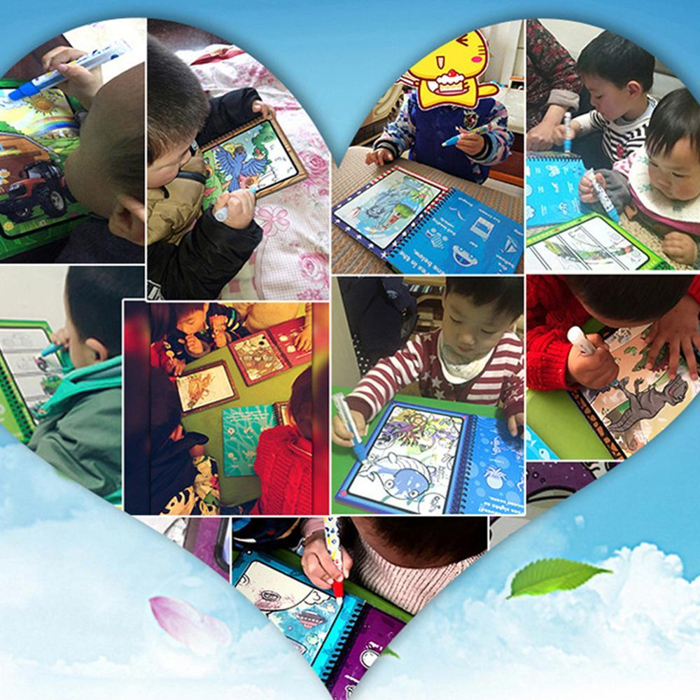 El agua reutilizable para colorear Mágico Libros dibujo libro de cartón Doodle Pintura para la educación los niños pequeños Acuarela Libros