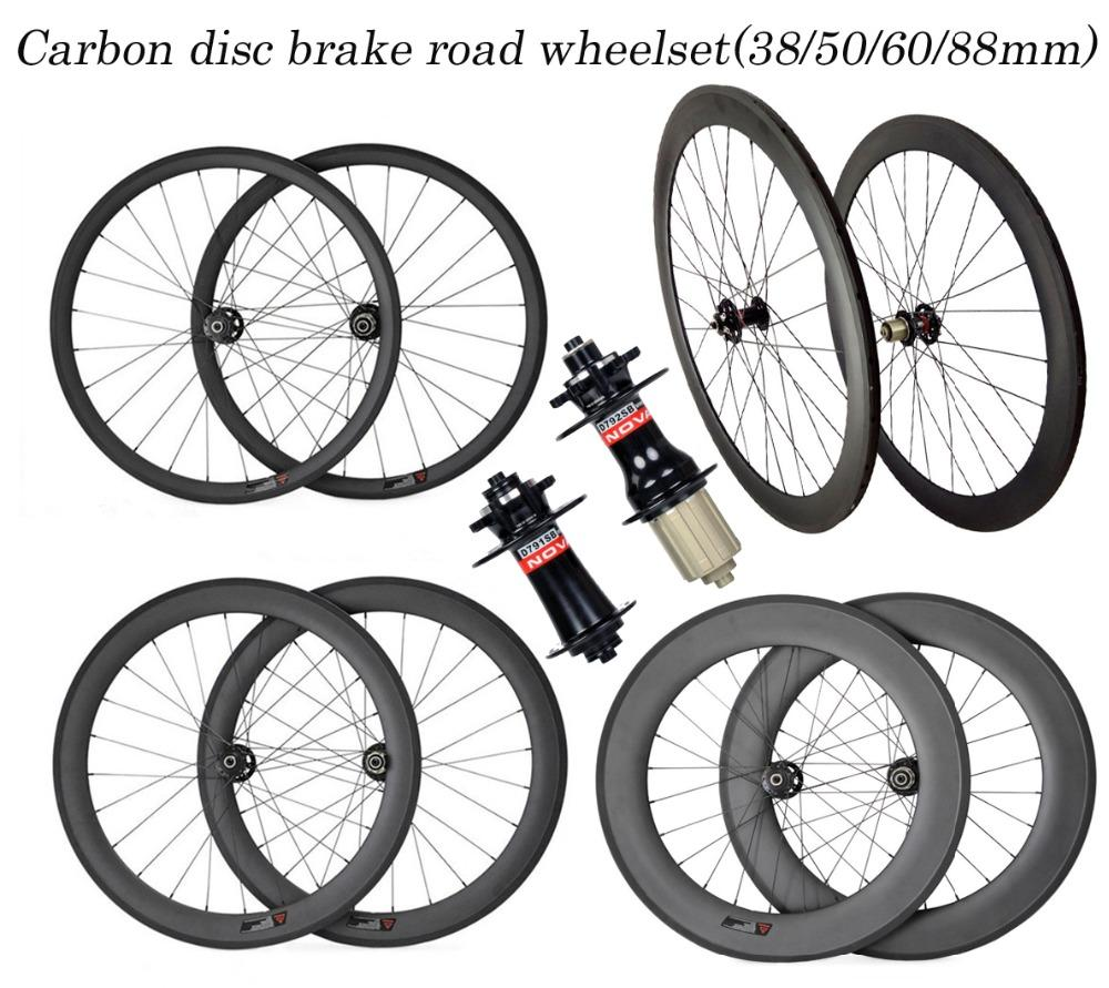 Excellent quality carbon wheels durable 700C 38 50 60 88mm tubular clincher tubeless road bike wheelset Disc brake custom decals
