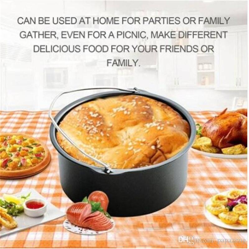 Ventas al por mayor !!! Envío gratis Air Frying Pan Accesorios 5 unids Freidora Hornear Cesta Pizza Placa Grill Pot Mat