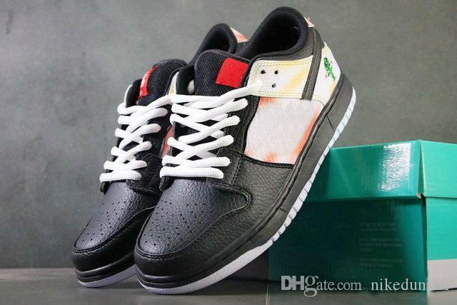 Nouveau sorti authentique SB Dunk Low Tie-Dye Raygun Chaussures de course Noir Orange flash Hommes Sport Chaussures BQ6832-001