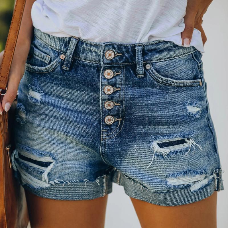 Moda Delik Kot Şort Kadınlar Jeans Şort Yüksek Bel Kısa Pantolon Gündelik Yaz Femme Düğmeler Cepler Ripped Yıkanmış