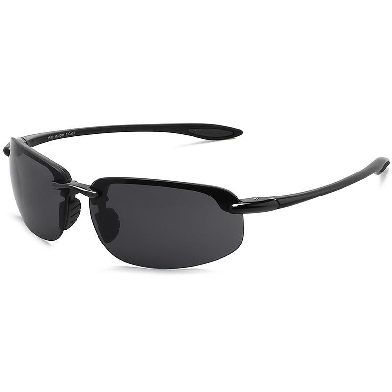 MAXJULI Güneş erkekler klasik moda çerçevesiz sürüş bisiklet yürüyüş kadın spor TR90 malzeme UV400 erkek Güneş gözlük 8001