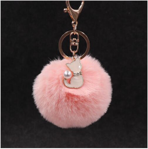Cute Pink Cat Fur Keychain Pompom Fake Fur Ball Key Chain Fluffy