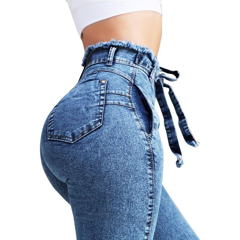Compre Moda Cintura Alta Denim Mujer Chica Tamano Streetwear Vendaje Pantalones Skinny Jeans Mujer A 12 1 Del Jhy688 Dhgate Com