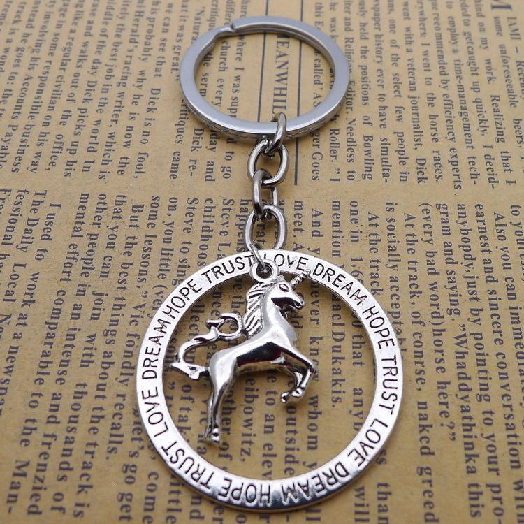 Silver Key liga Unicorn cavalo pingente de fivela antiga Ornamentos Parts