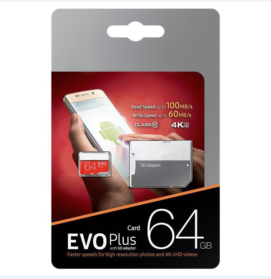 Ücretsiz SD Adaptörü Perakende Paketi ile 2020 Sıcak Satış% 100 Yeni U3 Sınıf 10 EVO PLUS 256GB 128GB 64GB 32GB TF Hafıza Kartı A-DATA
