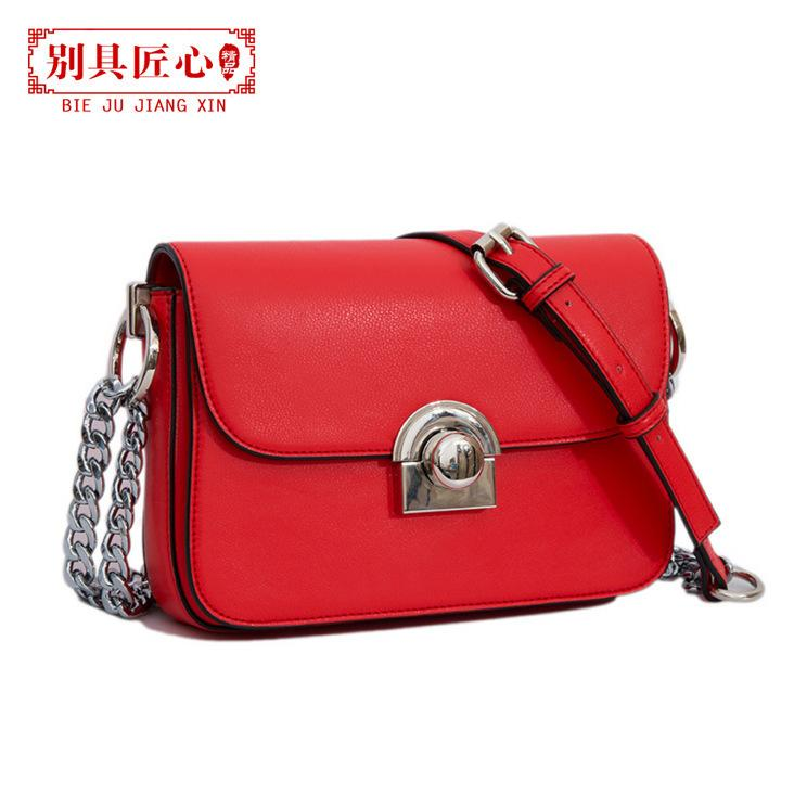Elegant2019 Square Small Semi-circle Lock Genuine Leather Competitive Products Single Shoulder Span Package