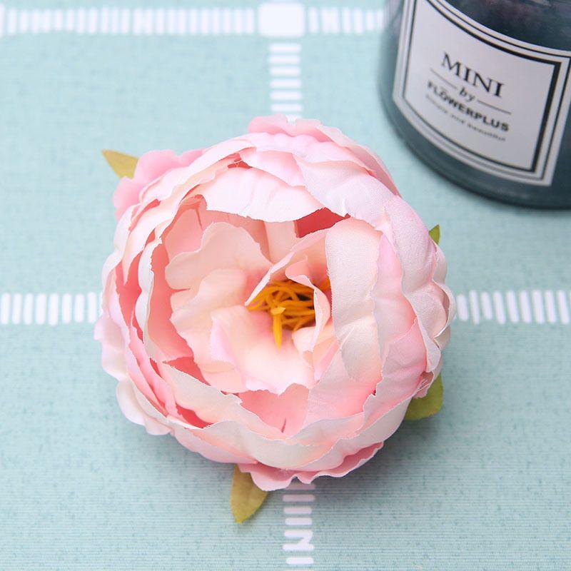 Alta simulación 9 cm Core Peony Cabeza de flor Flor de seda Flor de la boda DIY Flor de fondo de pared Decoración peonía de seda