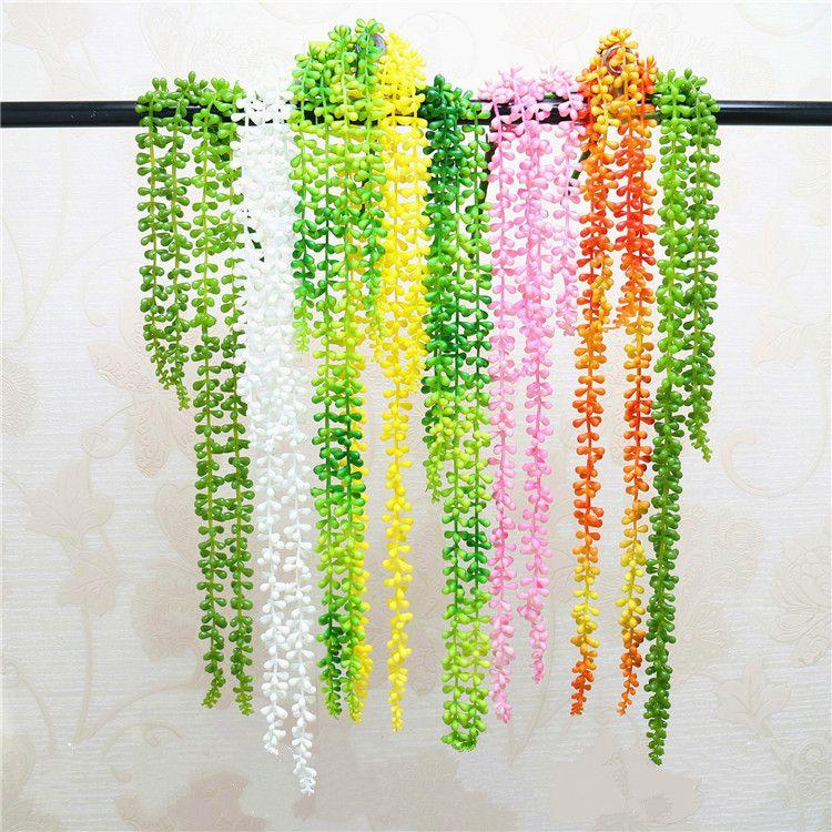 4 fork75cm Artificial Succulent Pearls Fleshy Vine Flower Hanging Rattan Soft Plastic Plants Artificial Flower Lover Tears