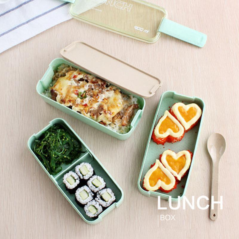 Promoción Nueva llegada 750ml Caja de almuerzo japonesa de microondas Caja portátil de 3 capas Bento Contenedor de alimentos saludables Juego de vajilla para horno