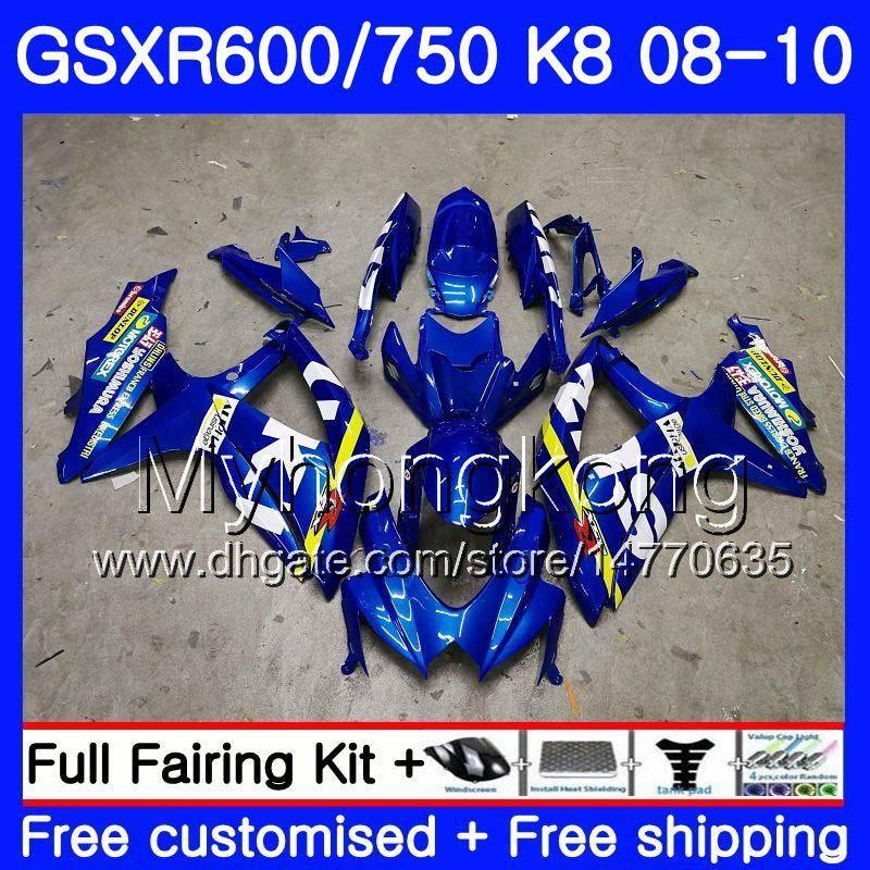 Corpo per SUZUKI GSX-R600 GSXR 750 600 600CC GSXR600 08 09 10 297HM.0 GSX R600 R750 GSX-R750 K8 GSXR750 2008 2009 2010 Carenatura blu