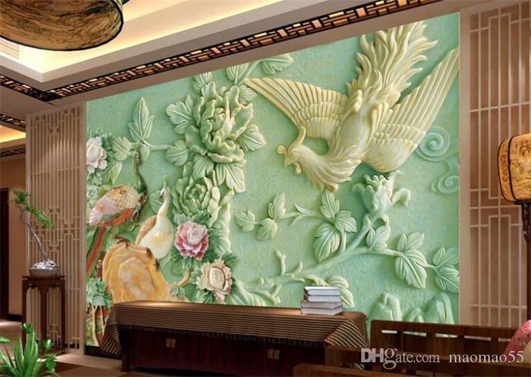 Große Wandhauptdekor Chinesische Pfau Relieftapeten Pared Wandpapier Hotels Hintergrund Mural Tapete für Wohnzimmer