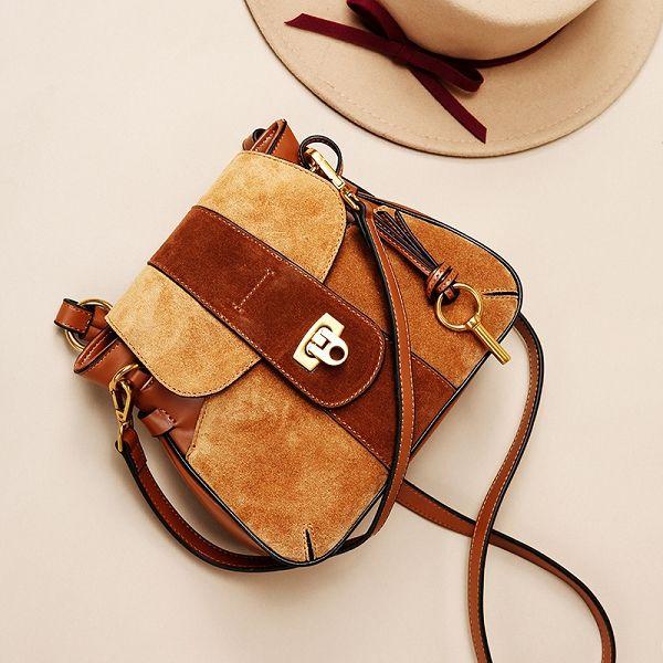 Designer's new leather lady single shoulder bag high quality fashion casual single shoulder crossbody bag lock buckle frosted saddle bag