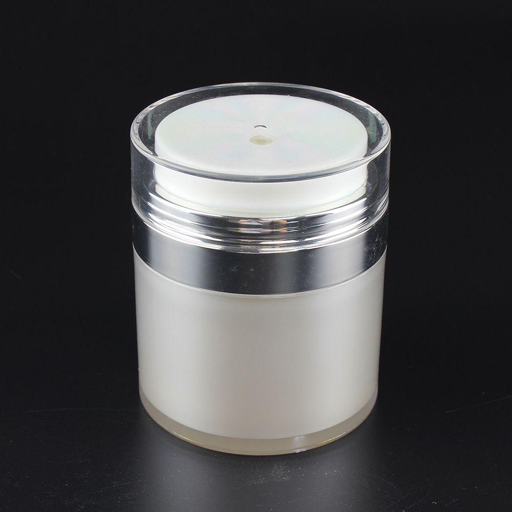 Lüks açık dış plastik kapaklarla kozmetik havasız pompa kavanoz, yuvarlak inci beyazı havasız losyon pompa kavanoz ambalaj boş 50ml