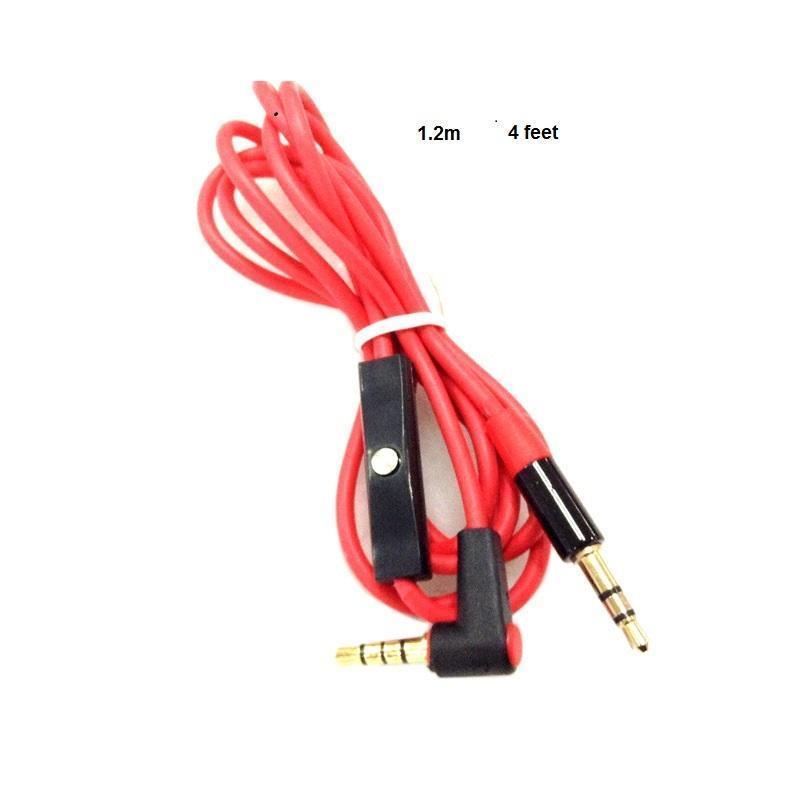 استبدال 3.5MM كابلات الأحمر جديدة لستوديو Heaphones مع تحكم محادثة وMIC L التوصيل تمديد الصوت AUX كابل لSOLO MIXR