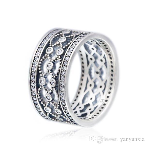 Original 925 Bague en argent sterling Vintage Charme avec bague en cristal pour Pandora femmes de soirée de mariage cadeau Bijoux Fashion