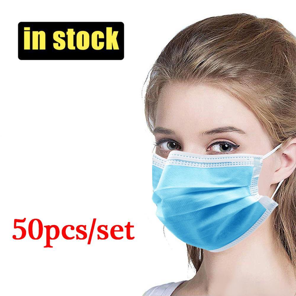 Máscara descartável face 50pcs Per Set 3-Ply filtro de algodão esterilizado Máscara respirável e confortável com espessura não tecida Respirador