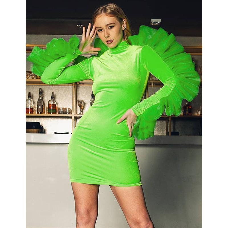 Malla volante vestido de terciopelo de manga larga Vestido ajustado Winter Party atractivo verde de neón 2019 de Clubwear Vetement Femme
