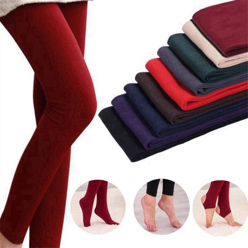 여성 겨울 두꺼운 다리 덥무늬 플러스 벨벳 바지 슬림 스타킹 다리 딱딱한 레깅스 탄력 팬티 스타킹 바지 8 색 HHA475 착용