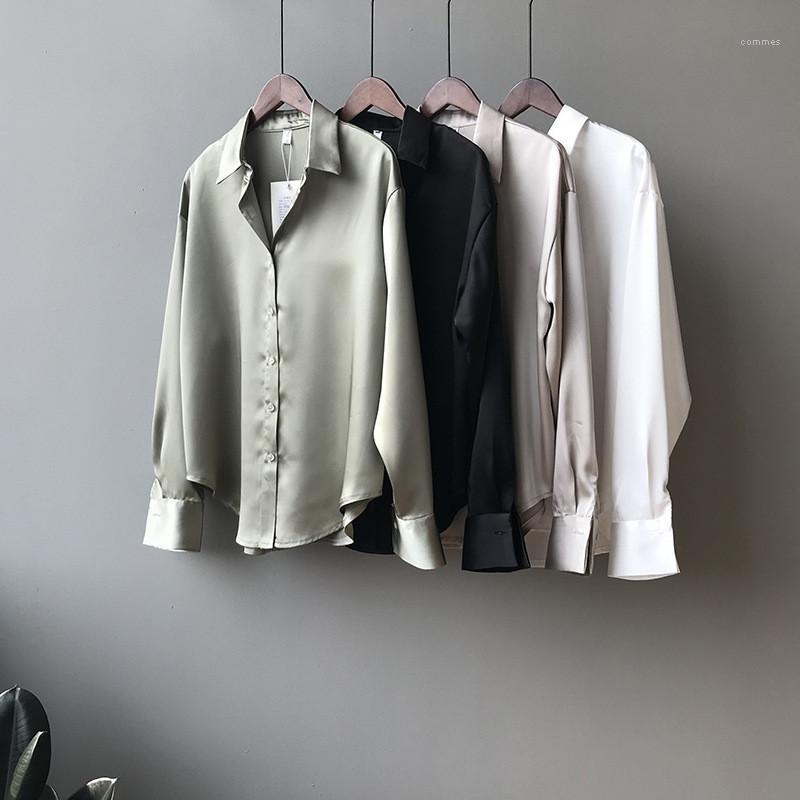 Clothing Famale Designer Shirt Ladies Solid Color Temperament Loose Shirt Fashion Long Sleeve Lapel Neck Casual