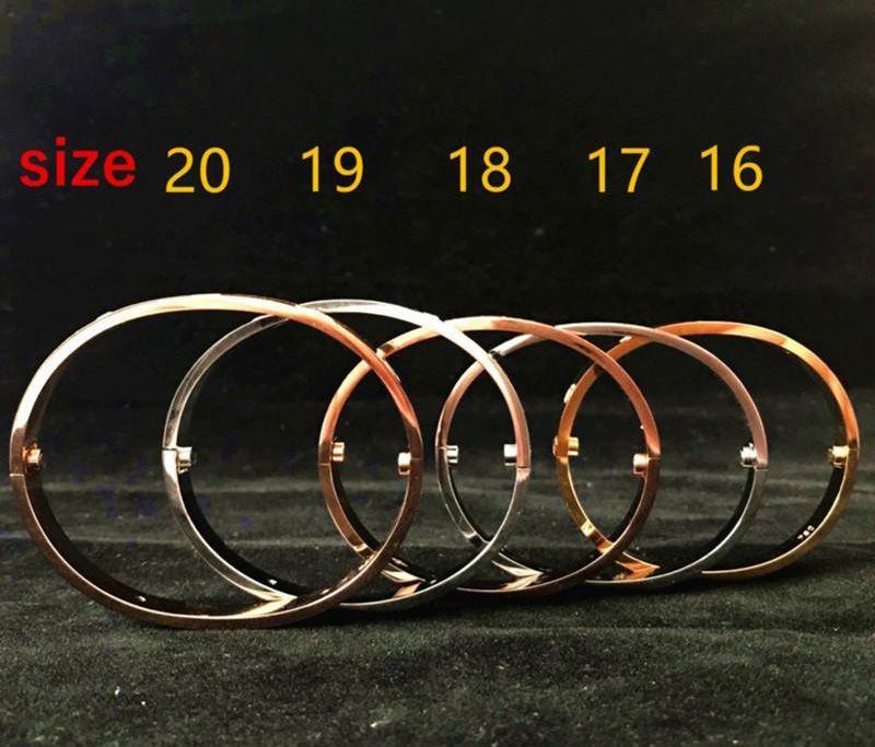 Vis Bangles acier 316L titane avec pierre cz Or argent bracelets en or rose pour les femmes avec les hommes cadeau original sac
