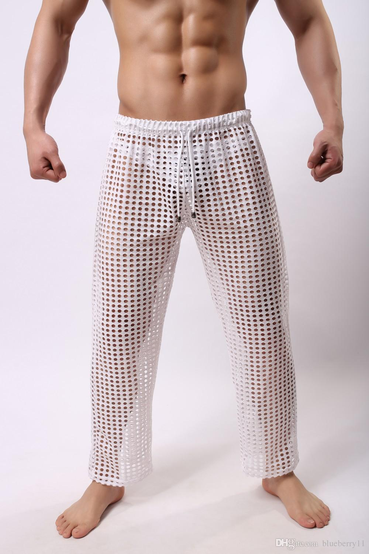 Мужчины Sleep Lounge сексуальные сетчатые брюки для мужчин Твердые мужские днища прозрачные дышащие мужчины Sexy Gay Wear видеть сквозь брюки повседневные черные M-2XL