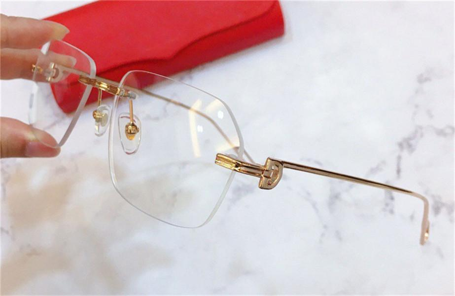 Design de moda óculos ópticos 0113 k quadrado ouro quadrado sem moldura retrô estilo empresarial moderno unisex pode fazer lente clara de óculos de prescrição